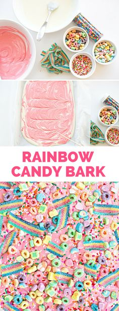 Magical Rainbow Unicorn Candy Bark. This delicious rainbow treat is easy and fun for kid to help make!