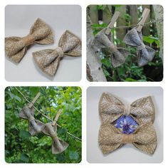 Embroidered set of 2 burlap bowties For rustic от accessories482