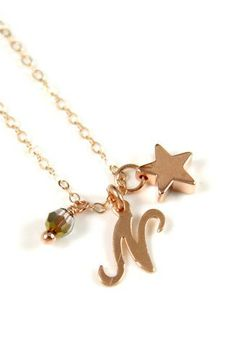 Personalized Rose Gold Star necklace rose gold