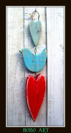 sweet WOODEN hearts and LOVE bird wall hanging RUSTIC shabby chic folk art. £10.00, via Etsy.