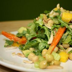 Avocado Wasabi Chickpea Salad: Top a salad with chickpeas and a dressing made with avocado, lemon juice, soy sauce, and wasabi powder. Source: Flickr user VegaTeam