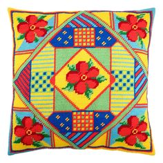 """Add a splash of designer color to your decor! A very on trend designed cushion front, printed on cotton canvas ready for completion with the supplied thick acrylic yarn.  Finished size: 16x16"""" / 40x40 cm  Each kit contains:   * full color printed canvas (30 holes/10cm, 8 stitches/inch, 100% cotton, Zweigart) * acrylic yarns * color stitch chart / pattern * clear working instructions in English * 2 tapestry needles #18  Please notice: this is a needlepoint kit, cushion pads are not included, you Needlepoint Pillows, Needlepoint Kits, Embroidery Kits, Beaded Embroidery, Tent Stitch, Diy Pillow Covers, Beaded Cross Stitch, Cushion Pads, Yarn Colors"""