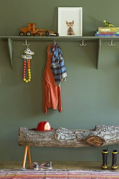 Amazing kids' room features walls clad in Benjamin Moore Caldwell Green lined with shelf painted the same color as walls topped with The Animal Print Shop Wolf Pup Little Darling over a log bench. Animal Print Shop, Kids Decor, Home Decor, Interior Exterior, Kid Spaces, Interiores Design, Interior Inspiration, Kids Bedroom, Baby Room