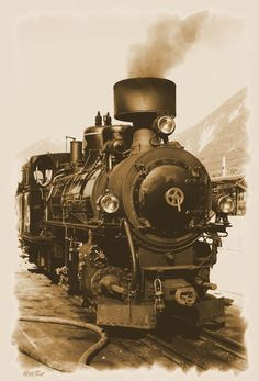 Dampflock der Zillertalbahn. Dampfzug, Eisenbahn,sepia, 'Dampflok' von hako bei artflakes.com als Poster oder Kunstdruck $16.63, (c) HaKo - Photo