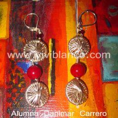 Aretes / Zarcillos de aros tejidos en plata. Curso de Joyería de ViviBlanco