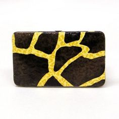 Giraffe Pattern Flat Wallet w/Checkbook Holder Clutch - Gold Bag Girls. $9.95