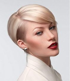 A Short Blonde straight coloured side-parting womens haircut hairstyle by Sam Villa