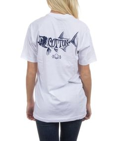 White 'Cotton' Fish Graphic Short-Sleeve Tee - Unisex
