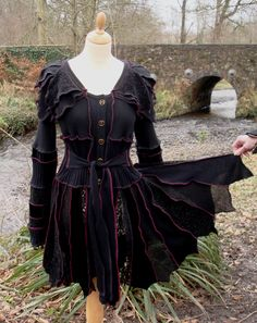 Ariadne - Gothic pixie coat from recycled sweaters by SpiralGypsy - size M/L - RESERVED custom order for Alice - please do not purchase. $265.00, via Etsy.