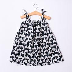 Toddler Dress - Strappy Black & White
