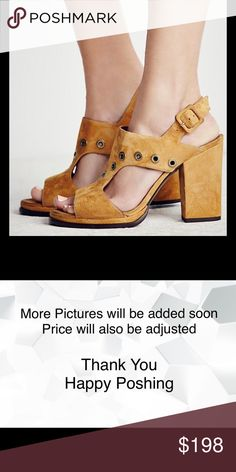 Free People Ringer Block Heel Tan Size 7 Ringer Block Heel Tan Size 7   Suede open toe heels featuring edgy metal grommet detailing with an adjustable ankle strap and block heel. Padded footbed for an extra comfy fit. New never worn   FP Collection  Sizing Tip: This style runs true to size. Suede Made in Spain  No Trades No Holds Free People Shoes Heels