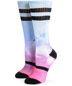Inspired by high tides and duck dives, these ultra soft and comfortable combed cotton crew socks feature a colorful sublimated photo transfer graphic of the underside of a wave.