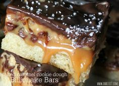 ~Salted Caramel Cookie Dough Billionaire Bars!