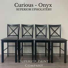 """High quality designer upholstery by Superior Paint Co. with the colour """"Onyx"""" is a dark charcoal grey Paint Companies, Bar Stools, Charcoal, Upholstery, Dining Chairs, Colour, Dark, Grey, Pattern"""