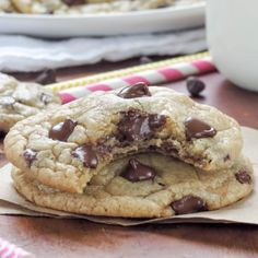 Super soft and thick chocolate chip cookies loaded with chocolate chips! Fail-proof recipe and they come out perfect every single time!