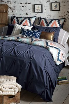 pin tuck blue bedding