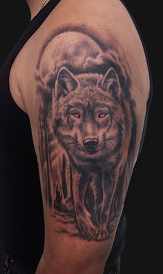 Jamie Lee Parker - Red Eyed Wolf Tattoo - Tattoos and Fine Art
