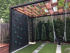 Backyard For Kids, Backyard Projects, Backyard Patio, Backyard Landscaping, Backyard Designs, Kid Friendly Backyard, Outdoor Playground, Modern Playground, Playhouse Outdoor