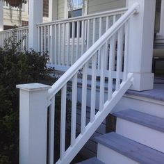 We replaced the rotted wood spindles on this front porch handrail Porch Handrails, Porch Stairs, Stair Railing, Railings, Covered Decks, Curb Appeal, Front Porch, Fall Decor, Home Improvement