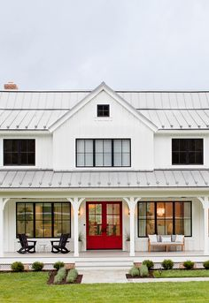 Do you love Farmhouse Exterior Design? Do you want to change the look of your home to become a Modern Farmhouse Exterior? Home exterior is the first thing that will be seen by others, so make your home's exterior become… Continue Reading → Farmhouse Exterior Colors, Farmhouse Front, French Farmhouse, Farmhouse Ideas, French Country, Front Door Paint Colors, Painted Front Doors, Front Door Decor, Modern Cottage