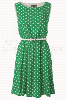 Sweetie - 50s Swing Dress in Green with Cream Dots