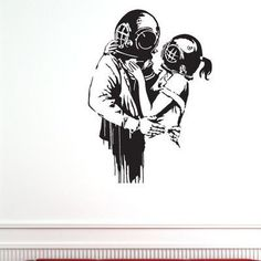 """Style and Apply Banksy Deep Love Wall Decal Color: Golden Yellow, Size: 54"""" H x 39"""" W"""