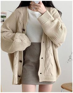 Kpop Fashion Outfits, Korean Outfits, Retro Outfits, Cute Casual Outfits, Stylish Outfits, Cardigan Outfits, Skirt Outfits, Kawaii Fashion, Cute Fashion