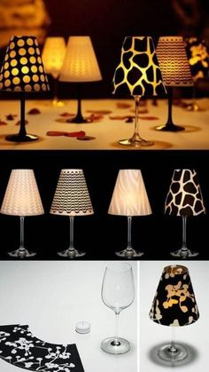 Make decorative candle holder yourself, craft idea with decorative paper, mini lamp, lampshade . - DIY IDEEN & PROJEKTE - Welcome Crafts Decor Crafts, Diy Home Decor, Diy And Crafts, Summer Crafts, Fall Crafts, Candle Holder Decor, Candle Craft, Deco Table, Glass Candle