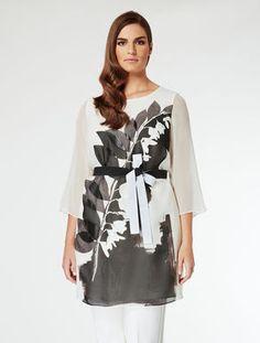 Marina Rinaldi. Two-tone silk georgette tunic