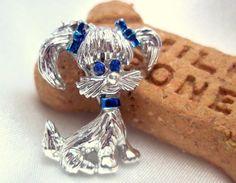 Vintage Dog Brooch by Gerry's with Blue Rhinestones by Ladysfancys, $8.00