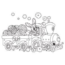 Easter Bunny With Big Eggs Coloring Page