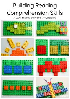 Read and Build with this awesome learning activity LEGO inspired story retelling of The Very Hungry Caterpillar. Inspired by Eric Carle see how to work on reading comprehension with your child. Retelling Activities, Lego Activities, English Activities, Eric Carle, Lego Duplo, Legos, Story Retell, Reading Comprehension Skills, Reading Skills