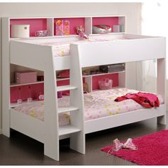 Magnificent Bunk Bed Design Idea in White-Pink Colors for Little Girls with Cute Soft Pink Beddings and White Built-in Ladder and Chic Built-in Bookcases