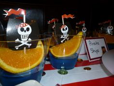 could do similar drinks, blue squash orange wedges and pirate flag toothpicks -- Pirate ship treats at a Pirate party Pirate Birthday, Halloween Birthday, Pirate Party, Pirate Theme, Pirate Snacks, 6th Birthday Parties, Birthday Ideas, Toy Story Cakes, Childrens Party
