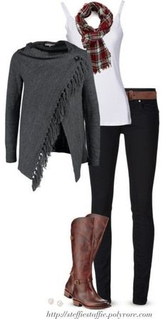 Gray cardigan wrap, Plaid scarf & Frye boots