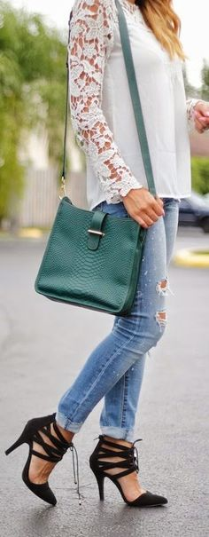 Gigi New York Green Embossed Python Leather Cross-body Bag by The Chiffon Diary