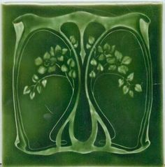 ❤ - Art Tile, Art Nouveau Design, Green Floral Design on Green