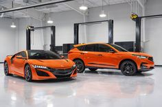 The Acura RDX is getting the orange paint from the orange NSX | Credit: Acura Ford Bronco, Bronco Car, Audi Rs, Audi Sport, 20 Inch Wheels, Pearl Paint, Acura Rdx, Black Door Handles, Sport Seats