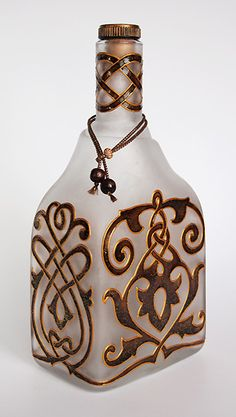 art inside — Hand painted bottle — Ancient Kyiv