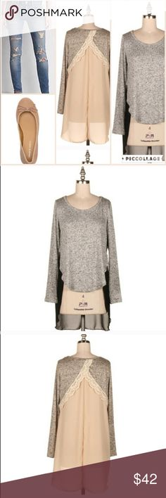 🎁 Heather gray tunic with lace and chiffon back Very light and breezy tunic (jeans and flats not included -outfit inspiration) with pretty lace details and a semi-sheer open taupe colored back. The heather gray is super soft and lightweight. Add this and any other two items in my closet to a bundle to receive a 15% discount! For jewelry pictured in listings, visit my profile for a link to shop. Tops Tunics
