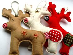 Caribou Chorus Christmas Decoration set of 3 handmade Xmas Reindeer to hang in your home