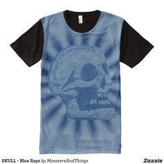 SKULL - Blue Back Rays All-Over Print T-shirt #skull #tshirt  http://www.zazzle.com/monstersandthings?rf=238806092629186307