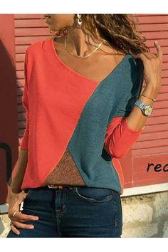 e0643ff99a81 Asymmetric Neck Patchwork Contrast Stitching T-Shirts Oberteile,  Bekleidung, Anziehen, Wolle Kaufen