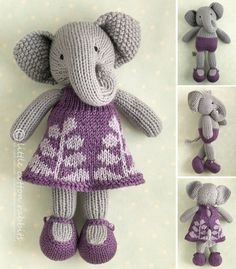 Toy knitting pattern for a girl elephant in by Littlecottonrabbits
