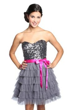 Strapless sequin homecoming dress with ruffles and belt