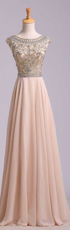 Charming Beading Long Prom Dress,Chiffon Prom Dress,Cap Sleeves