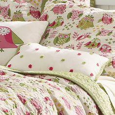 Pink & Green Owl Bedding Set