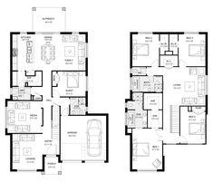 Glenleigh 36 - Double Level - Floorplan by Kurmond Homes - New Home Builders Sydney NSW 3 Storey House, Two Storey House Plans, Storey Homes, Dream House Plans, House Floor Plans, Plan Design, Design Ideas, Building Companies, New Home Builders