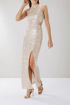Go for all out glamour with the Ariel Sequin Maxi Dress. Covered in sparkling sequins with a halterneck bodice, cut-out details and front split, it's simply stunning. This sequin dress measures from centre back to hem. Sequin Bridesmaid Dresses, Sequin Dress, Prom Dresses, Formal Dresses, Team Bride, Gold Sparkle, Boutique Dresses, Ariel, Coast