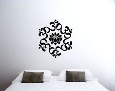 The Universal Om symbol Buddha Sacred Indian Lotus Flower Nelumbo Nucifera Vinyl Wall Decal Buddhism Divine Buddhist vibration Sign